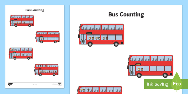Bus Counting Activity Worksheet (1-10) - Maths, Math, bus, numbers 1-10, Counting, Numberline, Number line, Counting on, Counting back