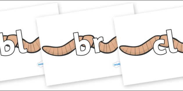 Initial Letter Blends on Worms - Initial Letters, initial letter, letter blend, letter blends, consonant, consonants, digraph, trigraph, literacy, alphabet, letters, foundation stage literacy