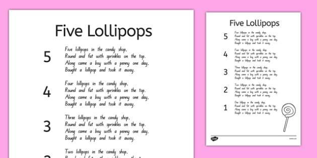 Five Lollipops Nursery Rhyme Sheet - nz, new zealand, five lollipops, nursery rhyme, sheet