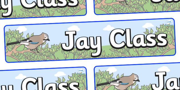 Jay Themed Classroom Display Banner - Themed banner, banner, display banner, Classroom labels, Area labels, Poster, Display, Areas