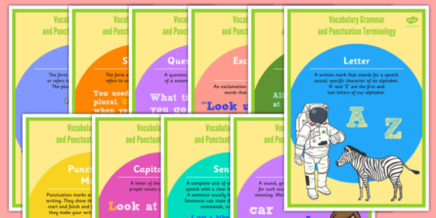 Year 1 Vocabulary Grammar and Punctuation Terminology Display Posters - y1, year 1, ks1, key stage 1, key stage one, vocabulary, terms, english, literacy, words, spag, visual aid, letter, word, sentence, capital letter, punctuation marks, full stop,