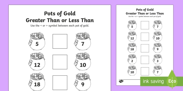 Pot Of Gold Greater Than Or Less Than Math Worksheet Activity
