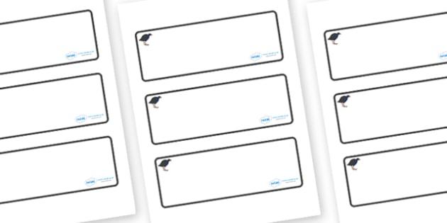 Pukeko Themed Editable Drawer-Peg-Name Labels (Blank) - Themed Classroom Label Templates, Resource Labels, Name Labels, Editable Labels, Drawer Labels, Coat Peg Labels, Peg Label, KS1 Labels, Foundation Labels, Foundation Stage Labels, Teaching Label