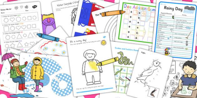 Childminder Rainy Day Activity Pack - rainy, day, activity, pack