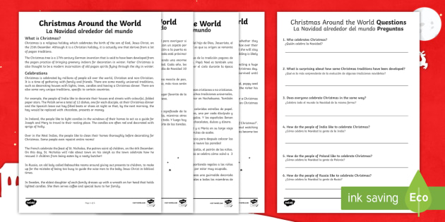 christmas around the world differentiated reading comprehension activity englishspanish christmas sheet
