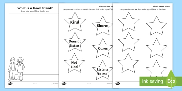 What is a Good Friend? Worksheet - young people, peer pressure