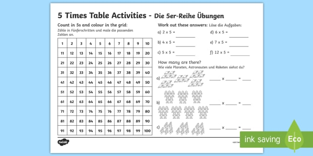 5 Times Table Worksheet / Worksheet English/German - EAL ...