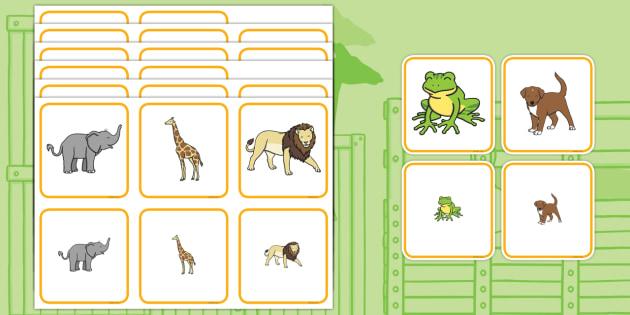 Matching Size Activity - dear zoo, matching, matching activity, matching game, matching size, size activity, size, matching puzzle