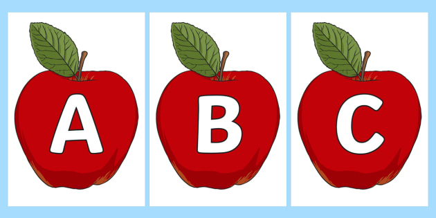 A-Z Alphabet on Red Apples - A-Z, A4, display, Alphabet frieze, Display letters, Letter posters, A-Z letters, Alphabet flashcards