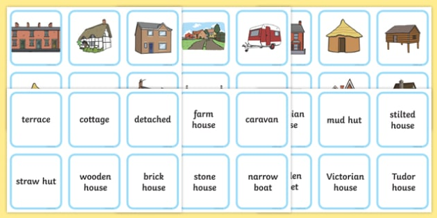 Houses and Homes Matching Cards - matching cards, houses and homes, houses, homes, matching, cards, matching game, matchign activity, picture matching