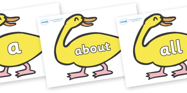 100 High Frequency Words on Yellow Duck to Support Teaching on Brown Bear, Brown Bear - High frequency words, hfw, DfES Letters and Sounds, Letters and Sounds, display words