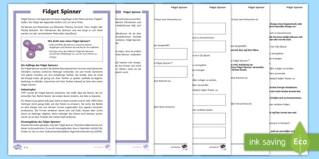 Fidget Spinner Leseverstehen Arbeitsblätter: Unterschiedliche