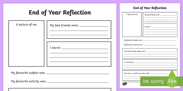 end of year reflection worksheet activity sheet end of yearback to school - Reflection Worksheet