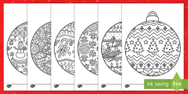 Christmas Baubles Mindfulness Colouring Sheets