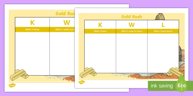 Gold Rush Kwl Chart Worksheet  Activity Sheet  Australian
