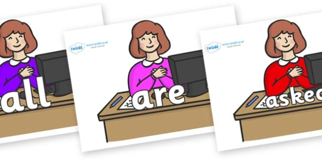 Tricky Words on Receptionist - Tricky words, DfES Letters and Sounds, Letters and sounds, display, words