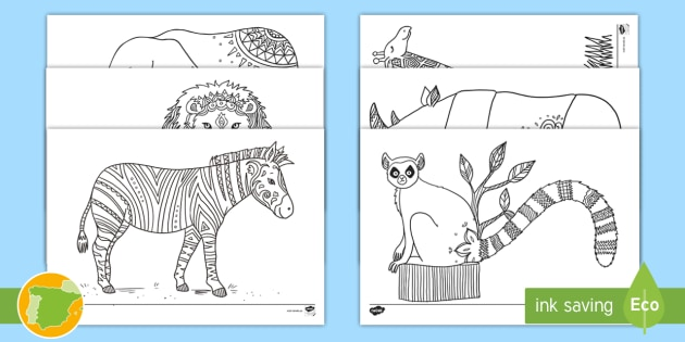NEW * Hojas de colorear: Animales del zoo mindfulness