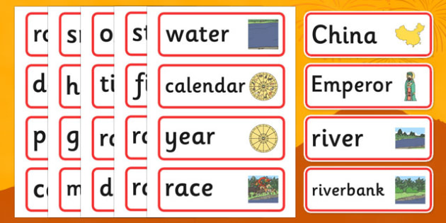 Chinese New Year Sensory Story Word Cards - chinese new year, sensory story, sensory, story, word cards