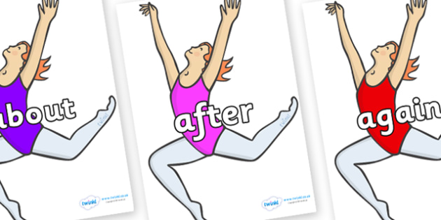 KS1 Keywords on Ballet Dancers - KS1, CLL, Communication language and literacy, Display, Key words, high frequency words, foundation stage literacy, DfES Letters and Sounds, Letters and Sounds, spelling
