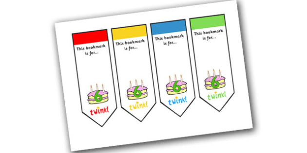 Editable Birthday Bookmarks (Age 6) - Bookmark, birthday, age 2, birthday gift, present, book, reward, achievement