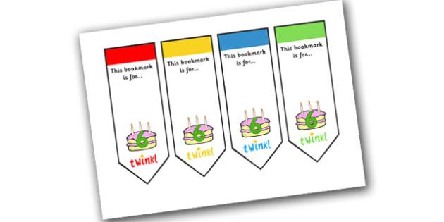 Editable Birthday Bookmarks (Age 6) - Bookmark, birthday, age 2, birthday gift, present, book, reward, achievement