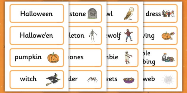 Halloween Word Cards - Halloween, pumpkin, word cards, cards, witch, bat, scary, Hallowe'en