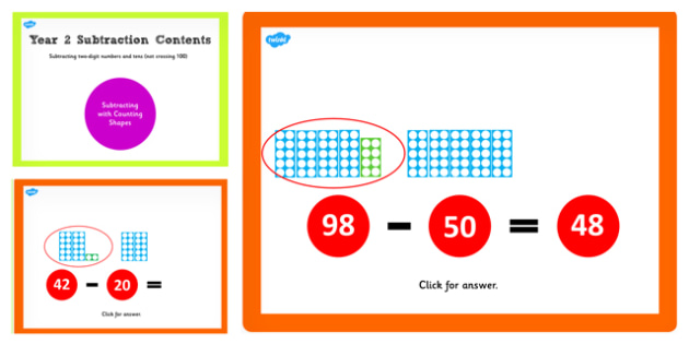 Y2 Subtract 2 Digit Numbers Tens Not Cross 100 Same Count Shapes
