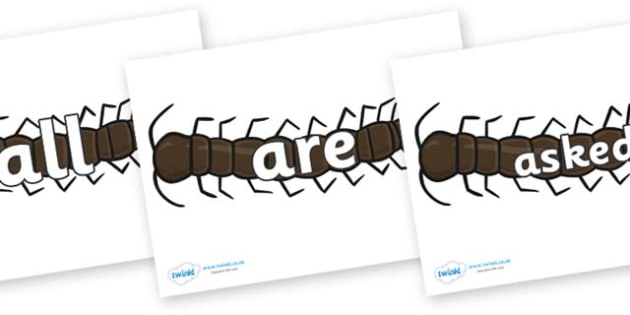 Tricky Words on Centipedes - Tricky words, DfES Letters and Sounds, Letters and sounds, display, words