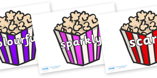 Wow Words on Popcorn - Wow words, adjectives, VCOP, describing, Wow, display, poster, wow display, tasty, scary, ugly, beautiful, colourful sharp, bouncy