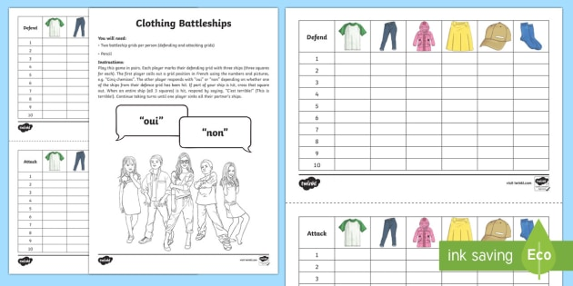 Clothing Battleships Game French  French Games French Clothes