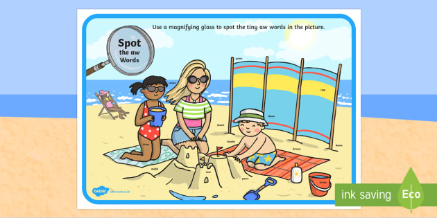 Phase 5 aw Words Beach Scene Magnifying Glass Activity Sheet - phonics, letters and sounds, phase 5, aw sound, magnifier, magnifying glass, find, activity, group,