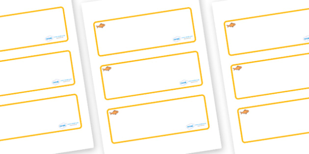 Goldfish Themed Editable Drawer-Peg-Name Labels (Blank) - Themed Classroom Label Templates, Resource Labels, Name Labels, Editable Labels, Drawer Labels, Coat Peg Labels, Peg Label, KS1 Labels, Foundation Labels, Foundation Stage Labels, Teaching Lab