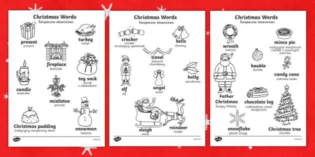 christmas words colouring sheets englishpolish christmas words colouring sheets christmas colouring
