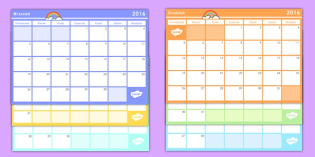 Kalendarz Rok szkolny 2016/2017 po polsku