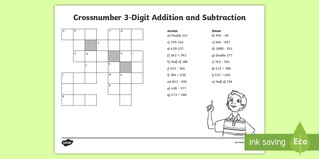 lks crossnumber digit addition and subtraction worksheet  worksheet lks crossnumber digit addition and subtraction worksheet  worksheet   add subtract