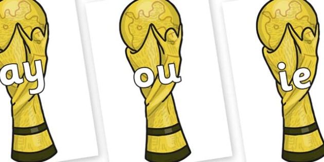 Phase 5 Phonemes on World Cup Trophy - Phonemes, phoneme, Phase 5, Phase five, Foundation, Literacy, Letters and Sounds, DfES, display