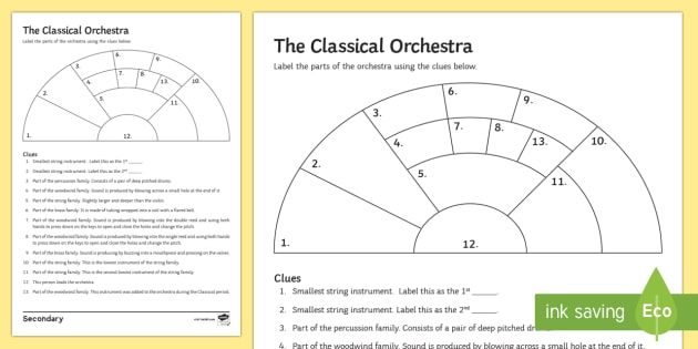 the classical orchestra activity sheet classical orchestra. Black Bedroom Furniture Sets. Home Design Ideas