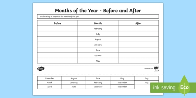 CfE 1st Level Months of the Year Worksheet / Worksheet - CfE ...