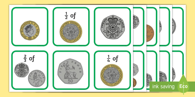 Fractions Money Matching Cards
