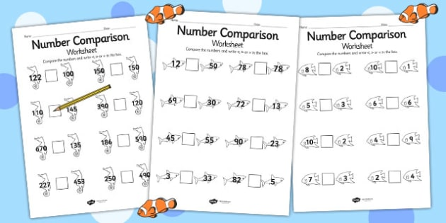 Under the Sea Differentiated Number Comparison Worksheet - sea
