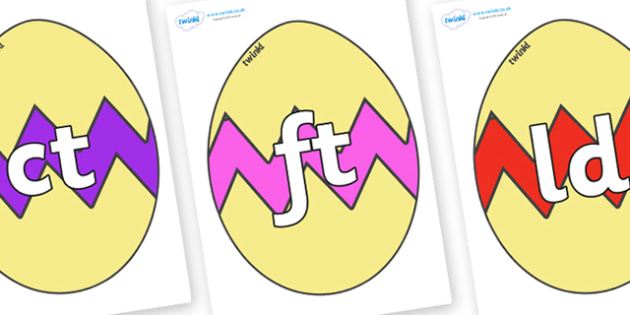 Final Letter Blends on Easter Eggs (Cracked) - Final Letters, final letter, letter blend, letter blends, consonant, consonants, digraph, trigraph, literacy, alphabet, letters, foundation stage literacy