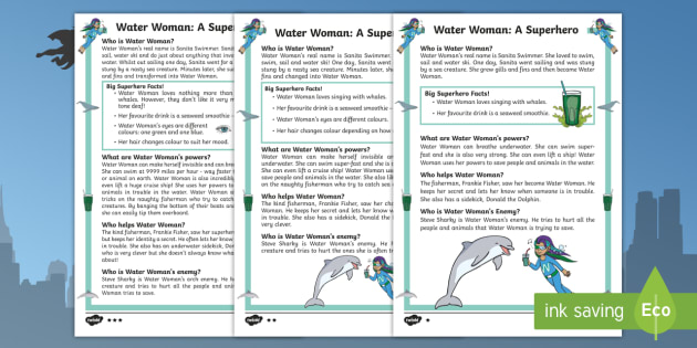 Water Woman: A Superhero Differentiated Fact File