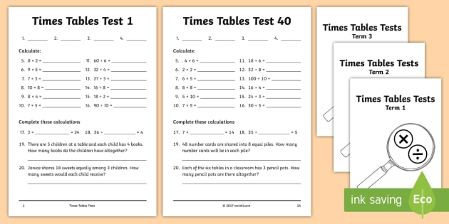 Year 3 Times Tables Tests Assessment Pack - Multiplication Tables