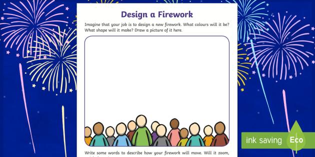 Bonfire Night Firework Design Worksheet - Bonfire, Night, Fire