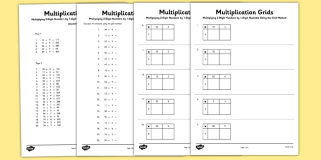 multiplying  digit numbers by  digit numbers using grid method  multiplying  digit numbers by  digit numbers using grid method worksheet   worksheet pack