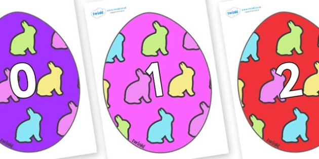 Numbers 0-50 on Easter Eggs (Rabbits) - 0-50, foundation stage numeracy, Number recognition, Number flashcards, counting, number frieze, Display numbers, number posters