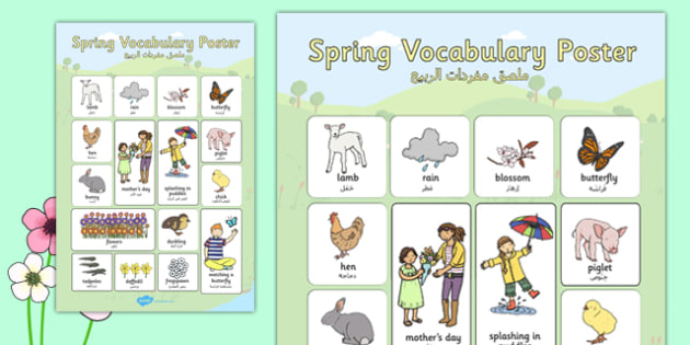 Spring Vocabulary Poster Arabic Translation - arabic, spring, vocabulary, poster, display