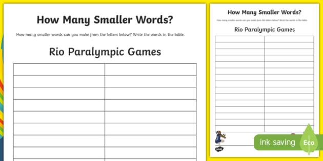 Australian Rio Paralympics 2016 How Many Smaller Words Activity Sheet-Australia, worksheet