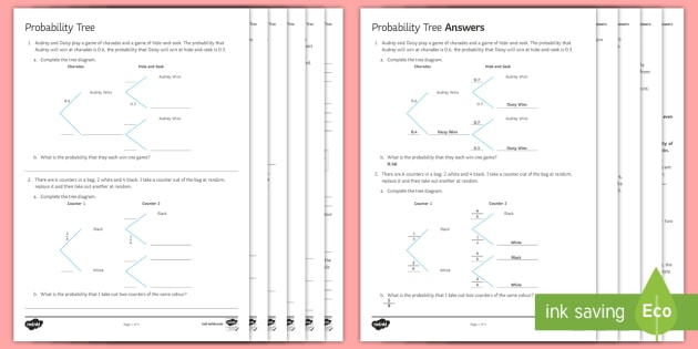 Probability Tree Diagrams Worksheet    Activity Sheet