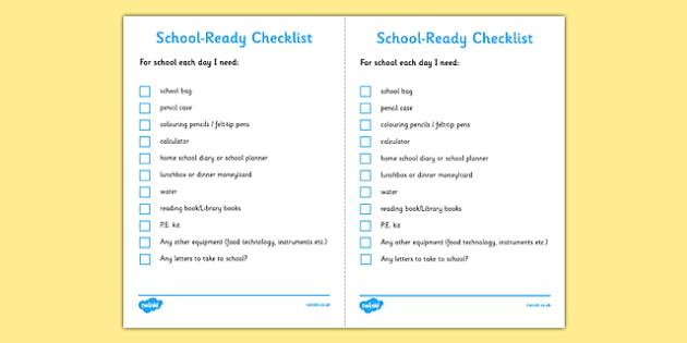 School Ready Checklist Secondary School Ready Checklist Secondary